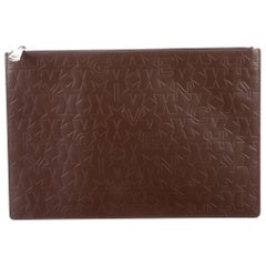 Givenchy New Brown Leather Logo iPad Tech Travel Envelope Clutch Bag in Box