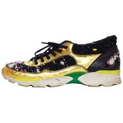 Chanel Fall '14 Runway Tweed Sneakers w/ Gold Trim Sz 38.5