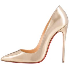 Christian Louboutin New Gold Patent Leather So Kate Evening Heels Pumps in Box