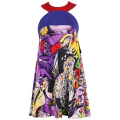 "1992 Gianni Versace Couture Multi-Colored Silk ""Chagall Print"" Mini Dress"