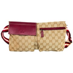 Gucci Red, Burgundy & Beige Monogram Belt Bag/ Waist Pouch