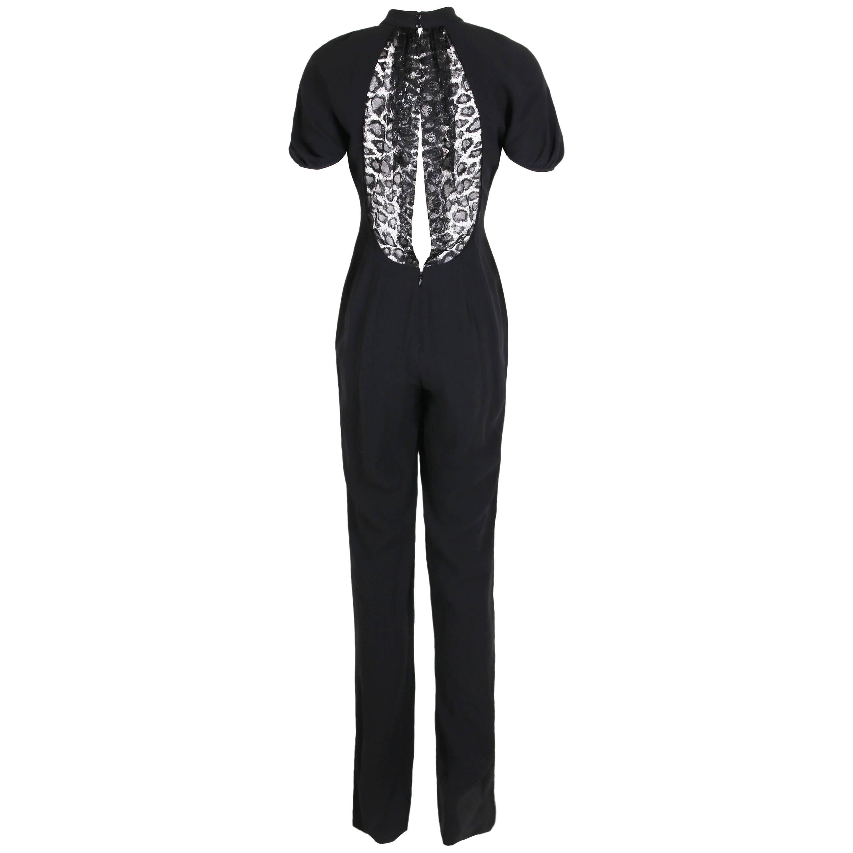 Yves Saint Laurent YSL Black Crepe Jumpsuit with Lace Illusion Back Panel, 2012