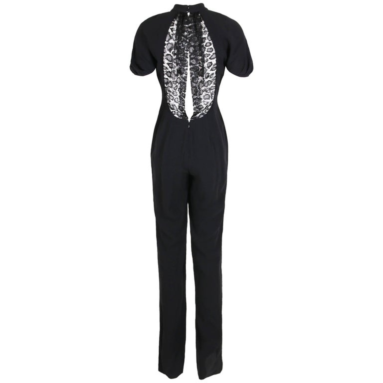 Yves Saint Laurent YSL Black Crepe Jumpsuit with Lace Illusion Back Panel, 2012  For Sale