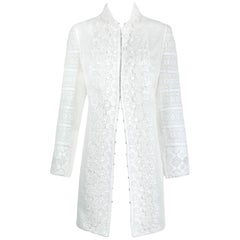 2010 Andrew Gn Atelier White Lace Long Sleeved Jacket Coat