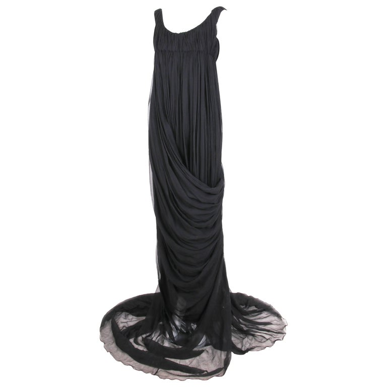 "Alexander McQueen ""The Girl Who Lived in a Tree"" Black Chiffon Grecian Gown 2008"