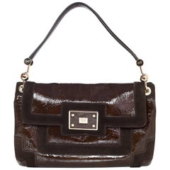 Anya Hindmarch Brown Patent & Suede Lautner Bag
