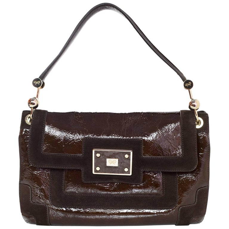 Anya Hindmarch Brown Patent & Suede Lautner Bag For Sale