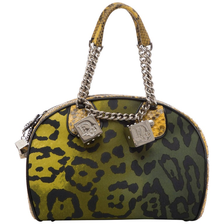 John Galliano Christian Dior Runway Leopard Python Gambler Handbag, Fall 2004