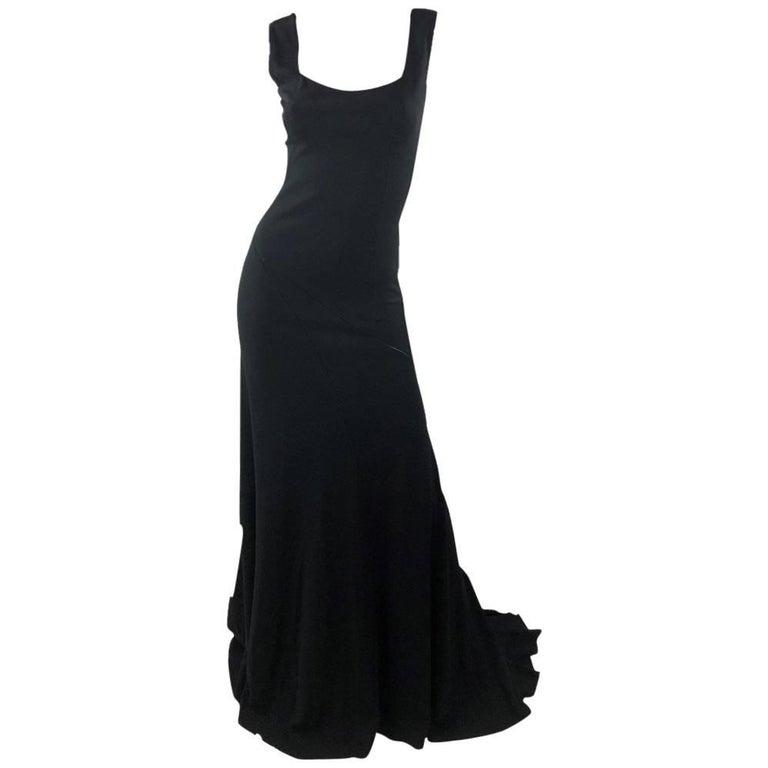 Azzedine Alaia Jet Black Sleeveless Gown, Medium