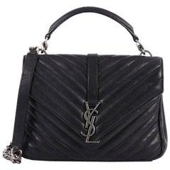Saint Laurent Classic Monogram College Bag Matelasse Chevron Leather Medi