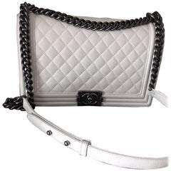 Chanel New Medium Boy Bag in white Lambskin