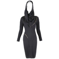 Alaia Museum Quality Black Hooded And Zippered Bodycon Dress, 1986