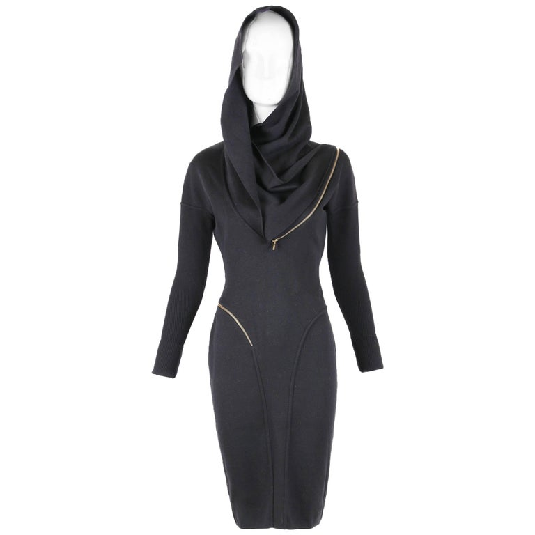Alaia Museum Quality Black Hooded And Zippered Bodycon Dress, 1986 For Sale