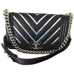 Chanel Medium Chevron Lambskin Irridescent PVC Boy Bag, 2017
