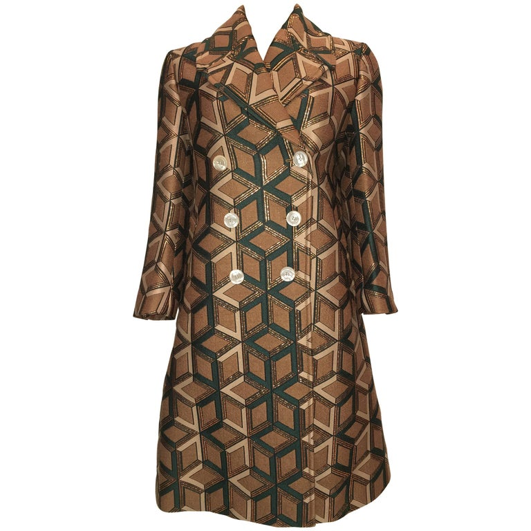 GUCCI Geometric Copper & Tan Double Breasted Wool Coat