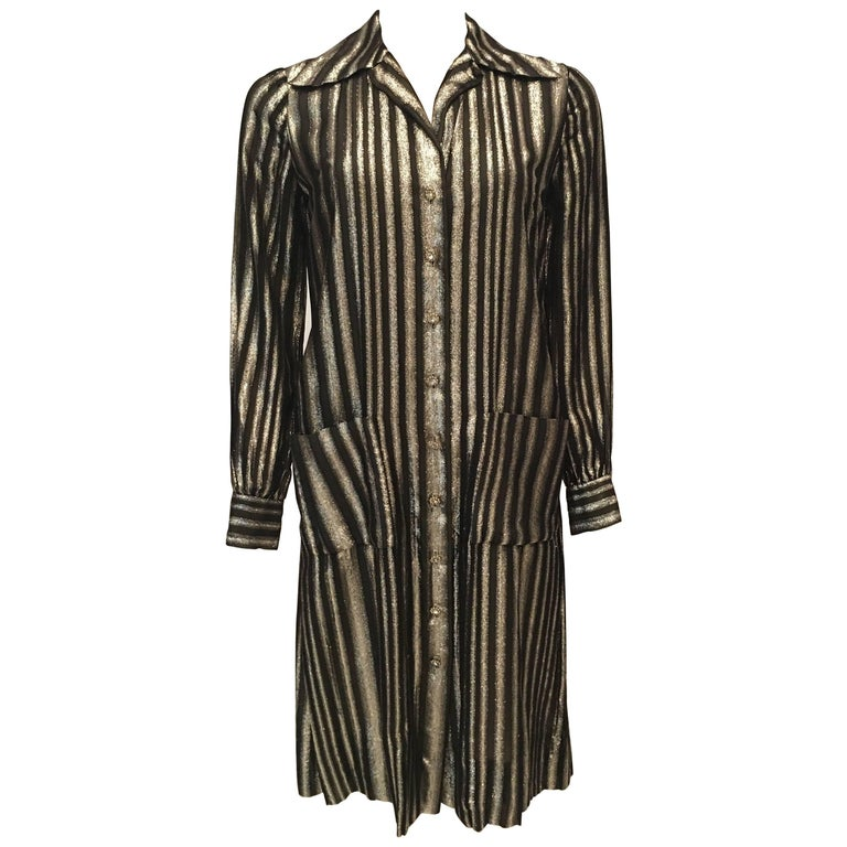 Adele Simpson 1960's Metallic Stripe Cocktail Shift Dress