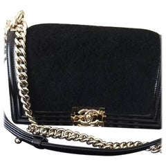 Chanel Medium Black Shearling Sheepskin Boy Bag