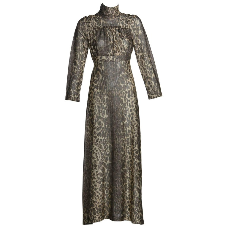 1970s Janice Wainwright Empire Waist Metallic Cheetah Print Maxi Dress
