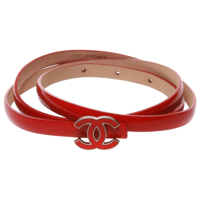 Chanel Red Patent Leather CC Logo Belt