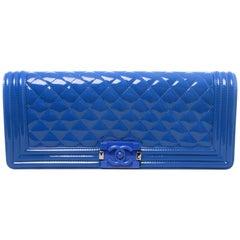 Chanel Cruise 2015 Petrol Blue Extra Long Clutch Crossbody Boy Bag