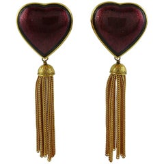 Yves Saint Laurent YSL Vintage Red Heart and Tassel Dangling Earrings