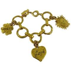 Yves Saint Laurent YSL Vintage Goossens Gold Toned Charm Bracelet
