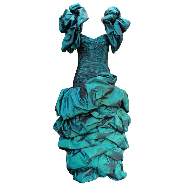 Loris Azzaro Haute Couture peacock blue cocktail dress, 1980s