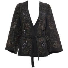 Dries Van Noten Slate Grey Embroidered Linen Cotton Jacket