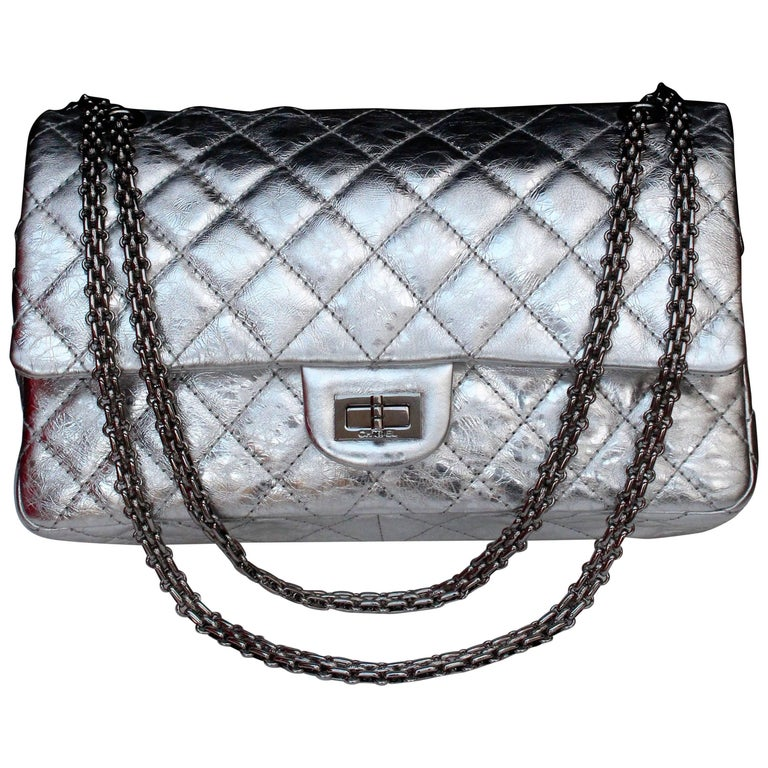 Chanel quilted 2.55 Model limited edition silvery leather bag