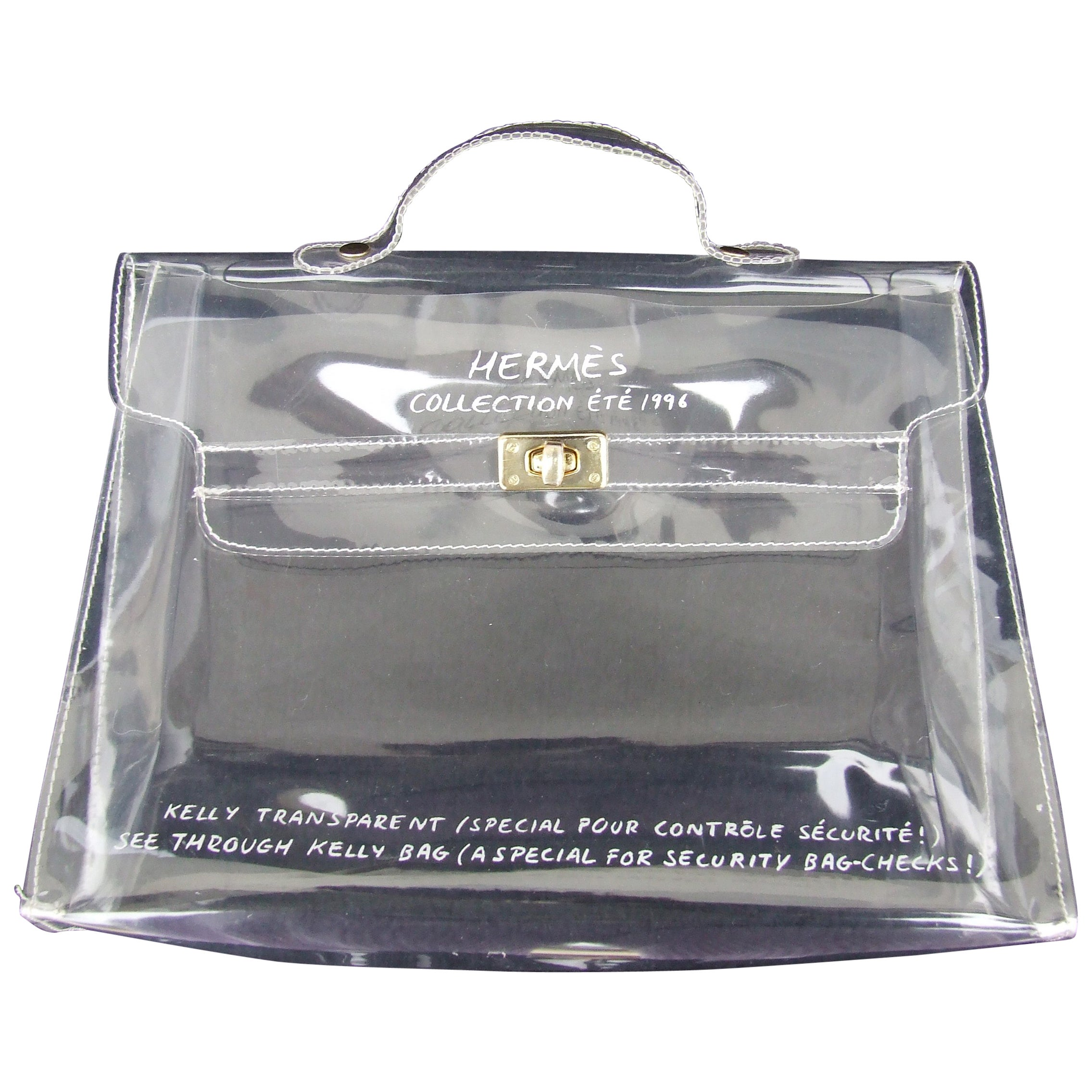 Hermes Collector See Through Kelly Bag Special Security Check In 1996 32 Cm At 1stdibs