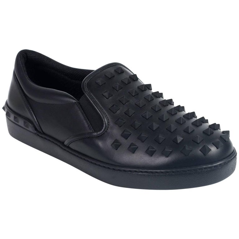 Valentino Mens Black Leather Rockstud Slip On Sneakers