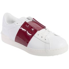 Valentino Mens White Red Patent Leather Open Sneakers