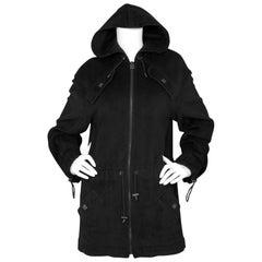 Chanel Sport Black Angora Hooded Jacket Sz FR38