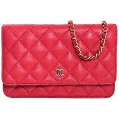 Chanel 2017 Pink Caviar WOC Wallet on a Chain Crossbody Bag w. Box/DB/Receipt