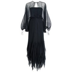 1976 Stavropoulos Black Textured Silk Carwash Gown & Sheer Billow-Sleeve Jacket