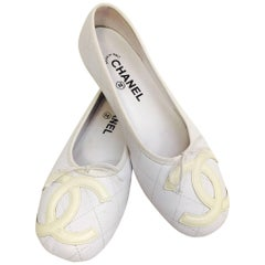 Chanel White Quilted Leather Cambon Logo Flats