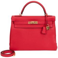 NEW in Box Hermès 32cm Rouge Tomate Kelly Bag