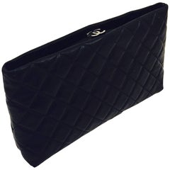 Cherished Chanel Vintage Black Quilted Lambskin Clutch with Double CC Lock
