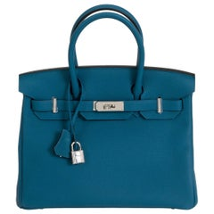 New Hermès 30cm Blue Togo Birkin Bag