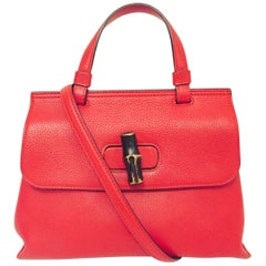 Guccissimo Gucci Red Pebbled Calfskin Small Bamboo 2 Way Handle & Shoulder Strap