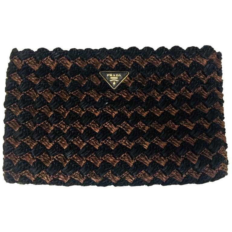 Prada Black and Brown Raffia Envelope For Sale at 1stdibs 8d604fbb22
