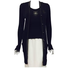 Chanel Black Silk and Cotton Blend Ribbed Twinset With Long Cardigan