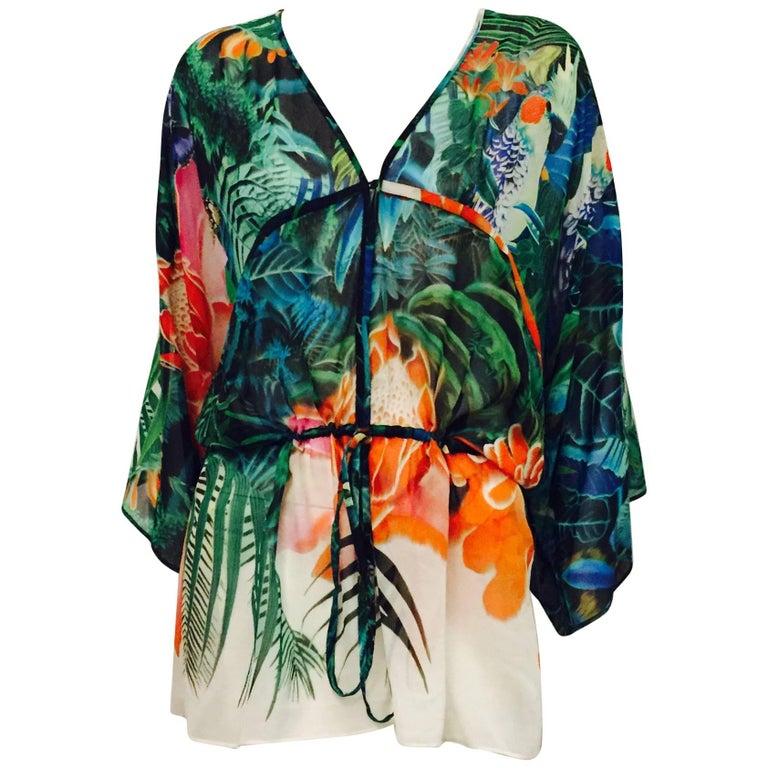 Radiant Roberto Cavalli Paradise Print Sheer Silk Tunic Blouse