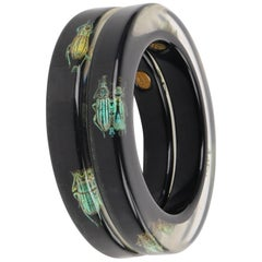 KOLOS DESIGNS 2Pc Black Translucent Lucite Iridescent Beetle Bangle Bracelet Set