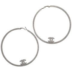 Chanel XL Crystal Boucles Oreille Hoop Earrings