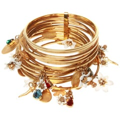 Dolce and Gabbana Gold Stacked Charm Cuff Bracelet