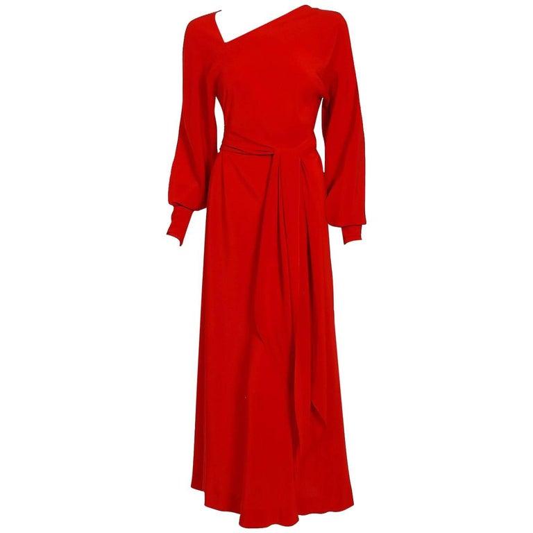 1977 Halston Couture Red Silk Asymmetric Billow-Sleeve Belted Bias Cut Dress