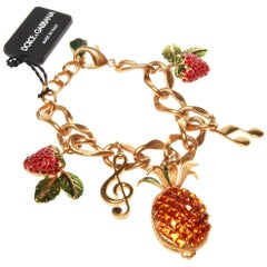 Dolce and Gabbana Gold Fruit Charm Bracelet