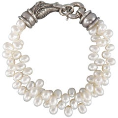 Kieselstein-Cord Bracelet Off White Pearls and Sterling Silver Alligator Clasp