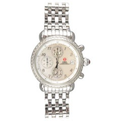 Michele Silver Stainless Steel CSX Diamond Chronograph Watch / 5 Alligator Bands